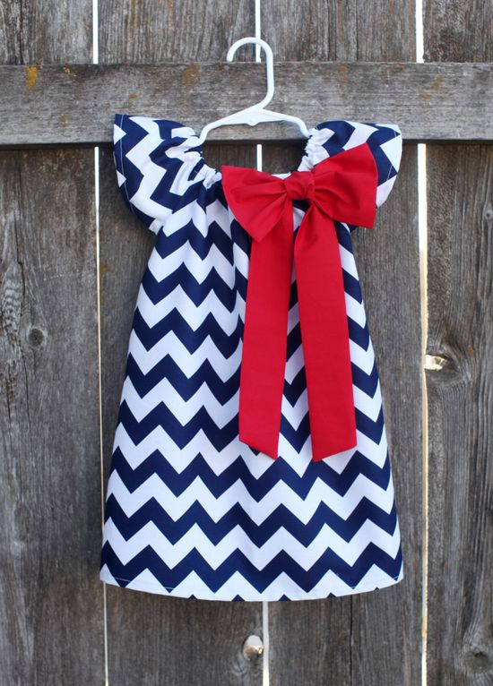 Navy Red Chevron Bow Peasant Dress