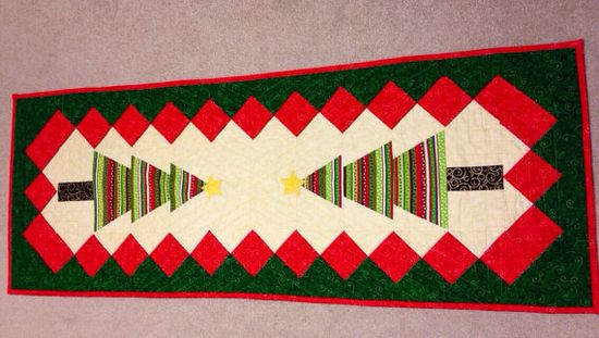 Christmas Table Runner Handmade Quilting on Etsy