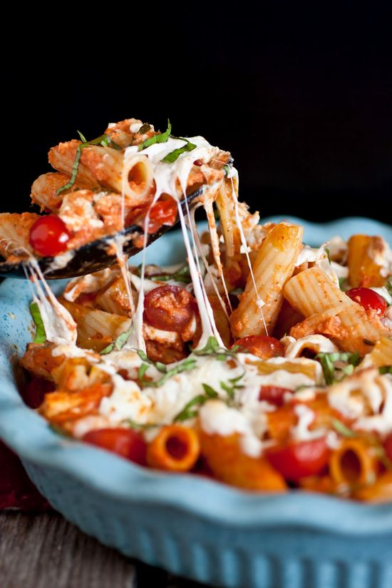 Grilled Chicken Caprese Pasta with Garlic, Romano, Mozzarella, and Fresh Basil