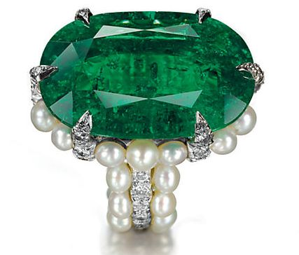 Emerald, pearl and diamond ring: set in platinum. By JAR