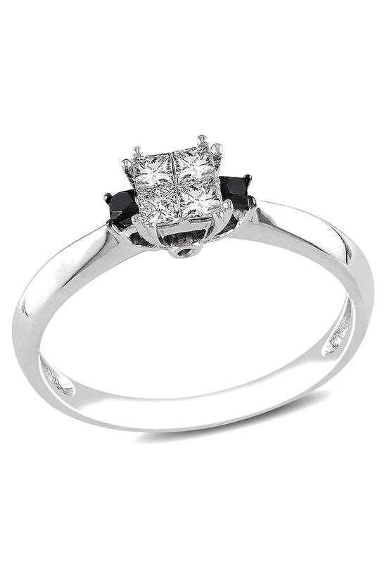 .3CT Black & White Diamond Ring In 14k White Gold