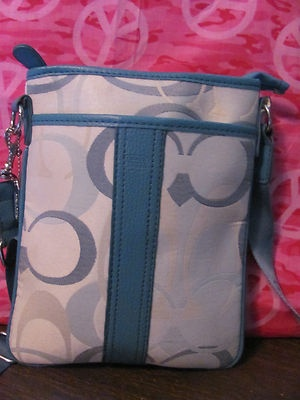 This hot little number will satisfy     your every style craving    COACH    WOMENS BLUE CANVAS    CROSSBODY/SHOULDER HANDBAG    MINT CONDITION    FOR PREOWNED    ZIPPERED CLOSURE    1 MAIN COMPARTMENT    1 ZIPPERED POCKET IN BACK    9 1/4 IN HEIGHT     8 LENGTH    9 IN DEEP    24 IN ADJUSTABLE STRAP DROP    SUPER CUTE & CLASSY    AWESOME HANDBAG    WONDERFUL ADDITION    TO YOUR WARDROBE
