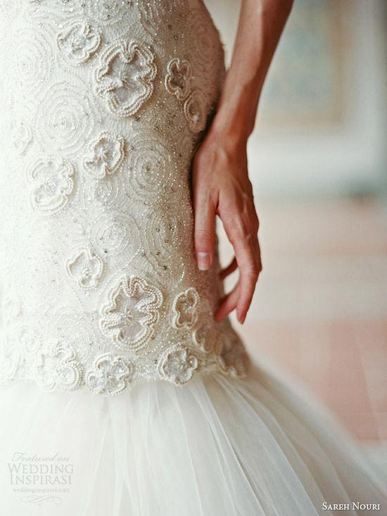 sareh nouri bridal fall 2014 delphine strapless wedding dress detail bodice