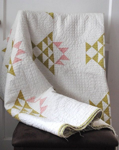 White, Green, Pink Triangles Patchwork