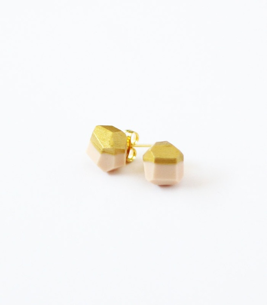 pale pink gold dipped earrings by AMM Jewelry