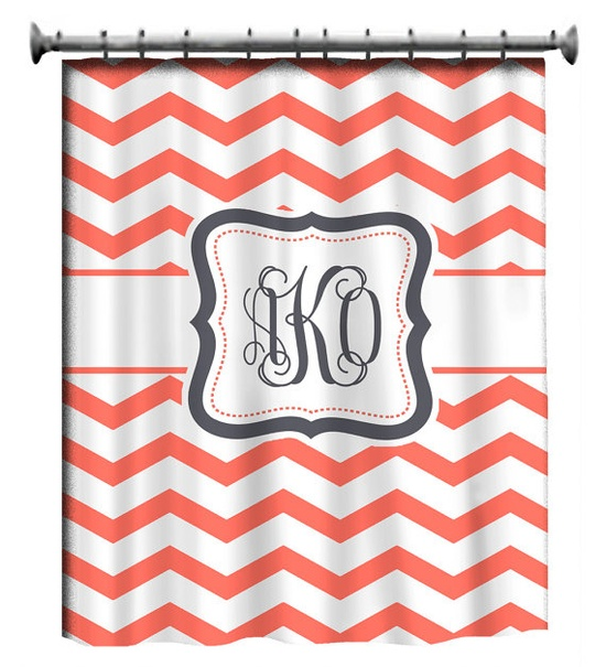 Personalized Shower Curtain  Coral & White Chevron