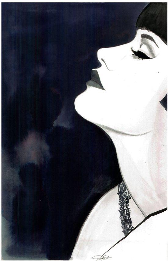 Nod to Noir by Jessica Durrant #noir #illustration #watercolor