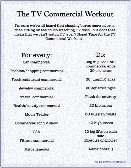 The TV Commercial Workout..lol