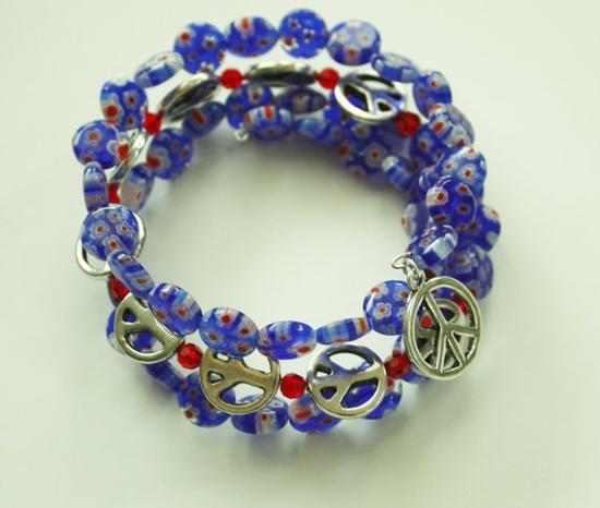 Blue Millifiori Glass Beads/ Silver Peace Charms by JustforJoyCreations, $12.00 #boebot #shopetsybot #handmadebot #promofrenzy #bracelets #jewelry
