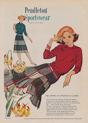 Timelessly wearable, sweetly pretty vintage Pendleton Sportswear fashions. #vintage #1950s #skirt #sweater #fashion #ad