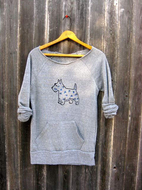 tried and true Scottie Sweater, Scottish Terrier, Dog Sweater, Off Shoulder Top, Cute Dog Sweater