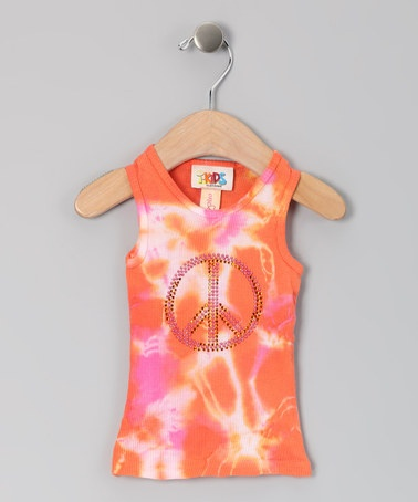 Orange Tie-Dye Peace Sign Tank - Infant & Toddler by One Love Kids on #zulily