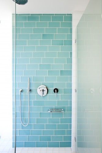 I love these blue subway tiles for the inside of the shower!