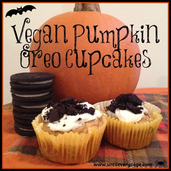 Recipe for Vegan Pumpkin Oreo Cupcakes #halloween #vegan #pumpkin #oreos #cupcakes #delish #veganism #whatveganseat #pumpkincupcakes #food #recipes #baking #delish