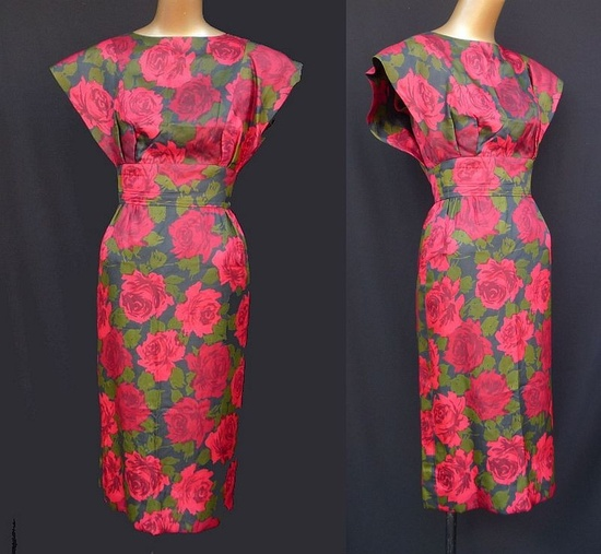 ~1950s Couture Harou' Inc silk wiggle cocktail dress~