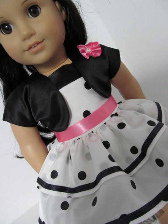 American Girl Doll Clothes, White Black Dot Dress, Shrug$22.00
