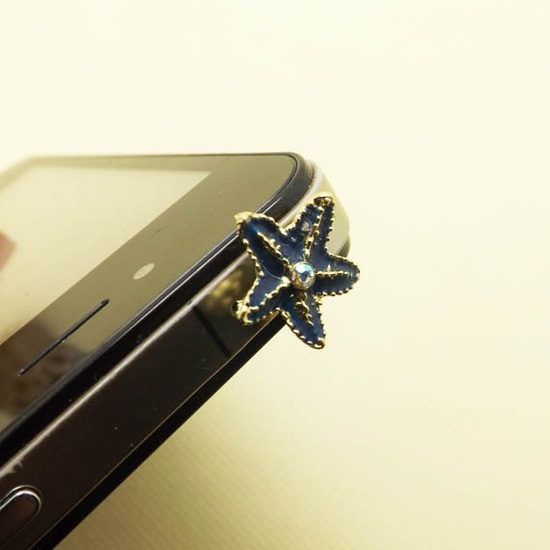 Retro Black Golden Crystal Starfish Dust Plug 3.5mm Smart Phone Dust Stopper Earphone Cap Headphone Jack Charm for iPhone 4 4S 5 HTC Samsung. $2.99, via Etsy.