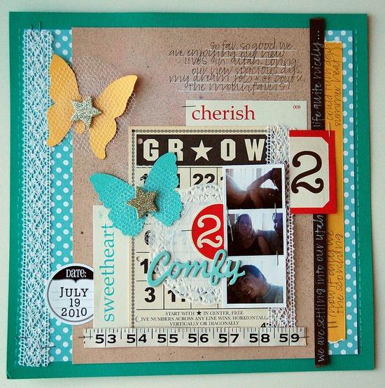 Bingo card, tape measure, colors. Great #layout!