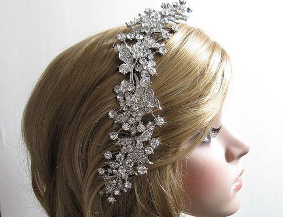 Large crystal bridal hair comb,wedding hair accessories,bridal comb,rhinestone wedding comb,wedding hair comb,bridal headpieces,wedding. $95.00, via Etsy.