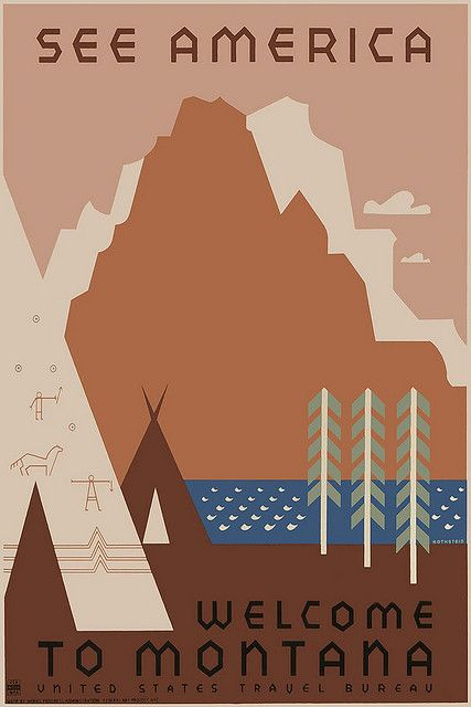 Vintage Travel Poster Montana by Kirt Baab, via Flickr