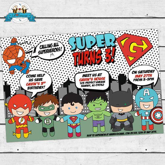 POP ART SuperHero Invitation - Invite Card - Super Hero Birthday Party - Comics Pop art -Personalized Printable pdf-  IN-7 via Etsy