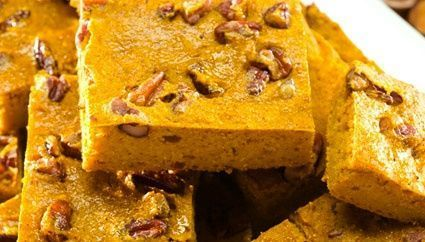 Try this yummy, moist, and healthful dessert recipe: Pumpkin Pecan Squares. They are just16 ?Calories: 103 per serving, from Celebrity Chef & Culinary Medicine Practitioner, Dr. John La