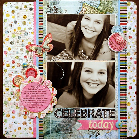 Celebrate Today #scrapbook #layout #simple #journal