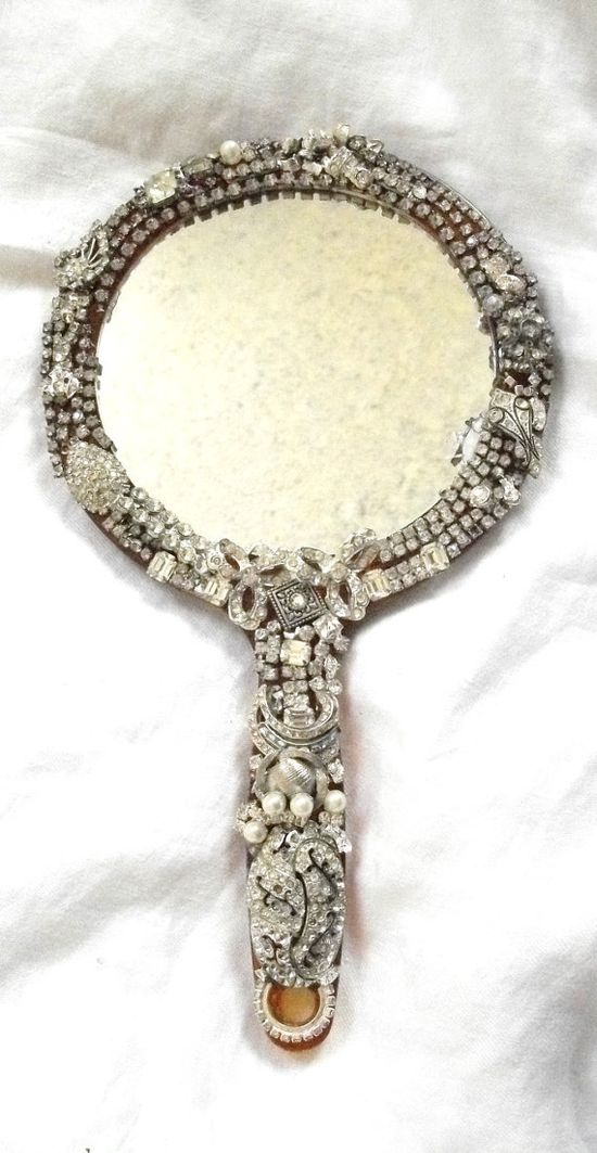 Vintage Jewelry Encrusted   Hand Mirror  by BohemianStarlet,