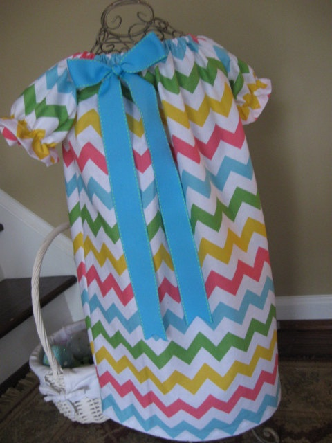 "Perfect Easter Dress!!!! Chevron Peasant Dress with turquoise bow in Riley Blake Chevron color ""Girl"" sizes 6M-6T. $25.00, via Etsy."