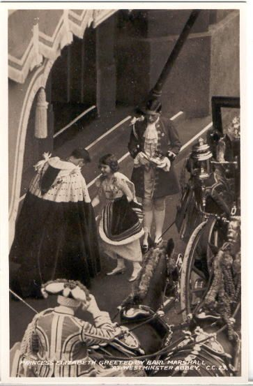 Princess Elizabeth arriving at Westminster Abbey for her father's coronation
