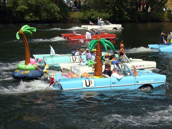 Amphicars floating water cars