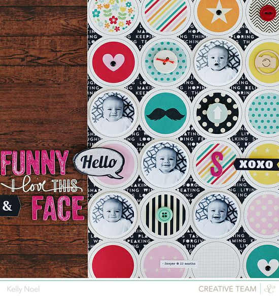 #papercraft #scrapbook #layout    Try your hand at circles with this week's Studio Calico Weekly Challenge with Kelly Noel