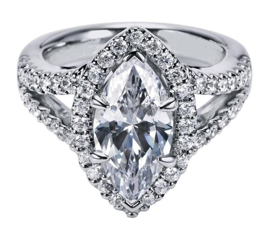 Marquise Diamond Engagement Ring Halo Double band in White Gold