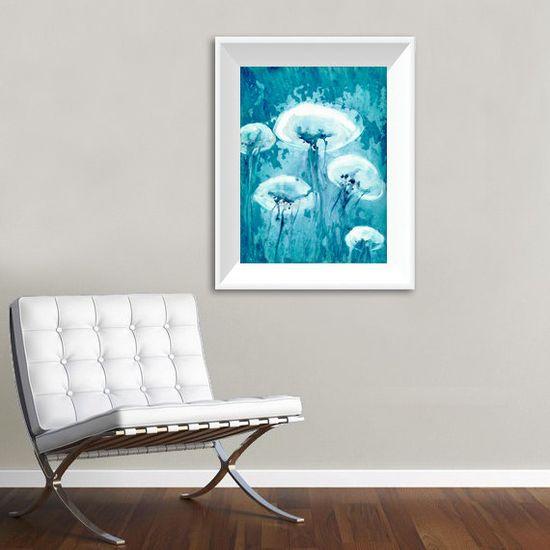 Jellyfish Art  Iridescent Teal Blue by BrazenDesignStudio on Etsy, $25.00