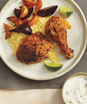 Roasted Chicken and Beets With Couscous and Yogurt Sauce from realsimple.com #myplate #protein #vegetables #grain