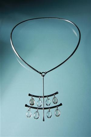 Mid century Scandinavian Necklace  Sterling silver and stryated quartz.