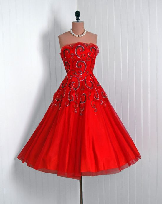 1950's Red tulle with metallic beaded swirls party dress
