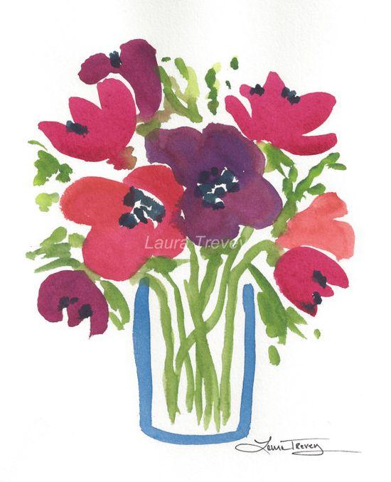 Colorful Bouquet Original Watercolor Painting $75.00