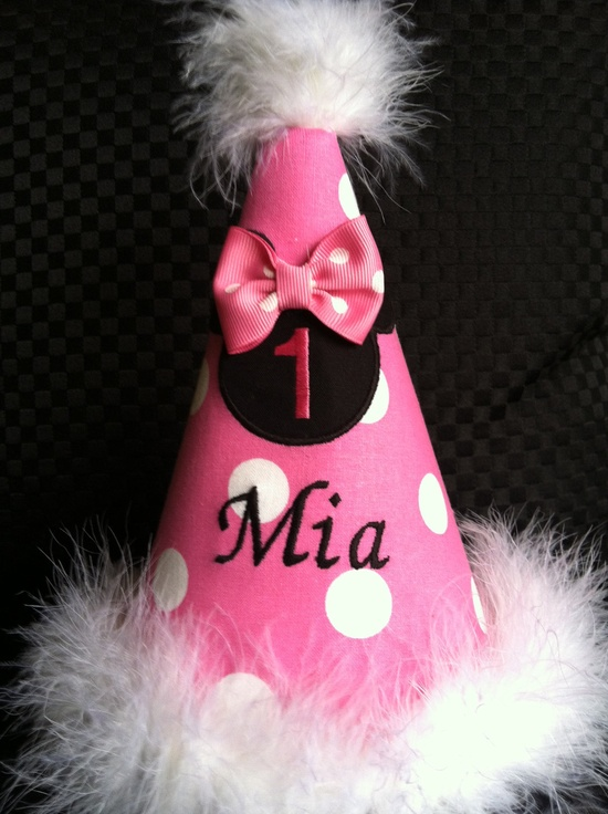 Beautiful minnie mouse birthday hat personalize (available pink and red). $17.00, via Etsy.