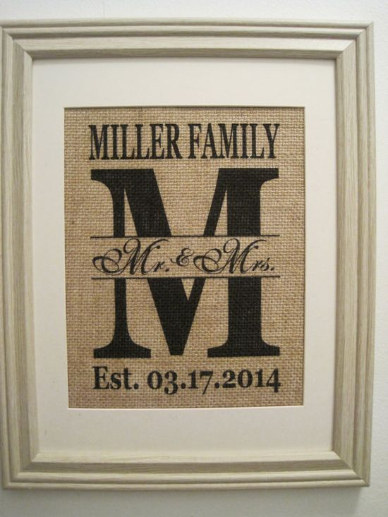 Burlap, Burlap Art, Burlap Print, Burlap Monogram, Family Sign, Burlap Est. Date, Marriage Date, Monogram on Burlap, Wedding Date on Burlap on Etsy, $22.41 CAD