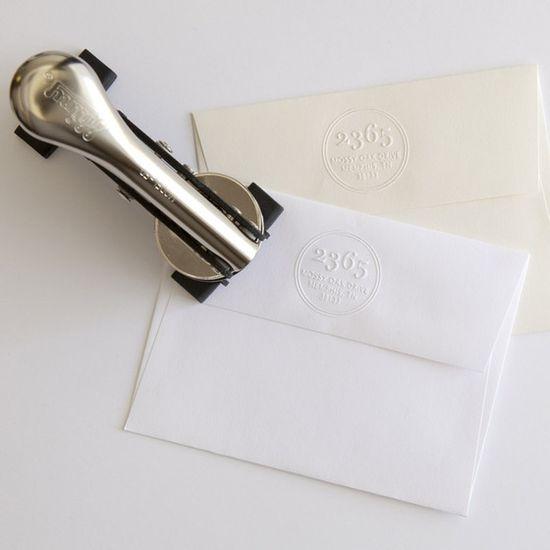CUP OF JO: Return-address embosser stamps.