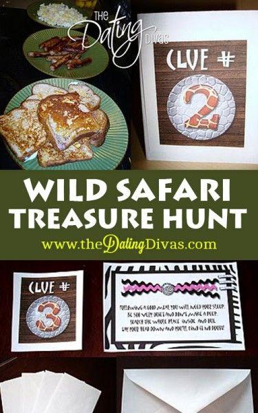 Send your honey on a Wild Safari Treasure Hunt- free printables included!  www.TheDatingDiva... #treasurehunt #freeprintables #datenight