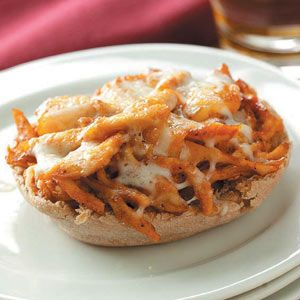 Mini BBQ Chicken Pizzas Recipe from Taste of Home -- shared by Deborah Forbes of Fort Worth, Texas