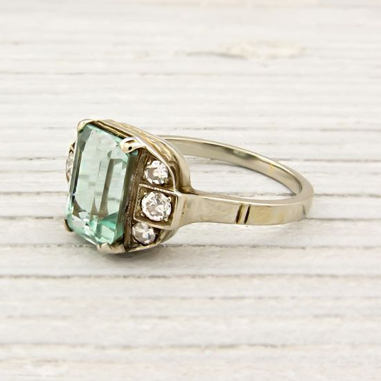 Vintage White and Yellow Gold Emerald Engagement Ring..I would rather White Gold, then it would be perfect!