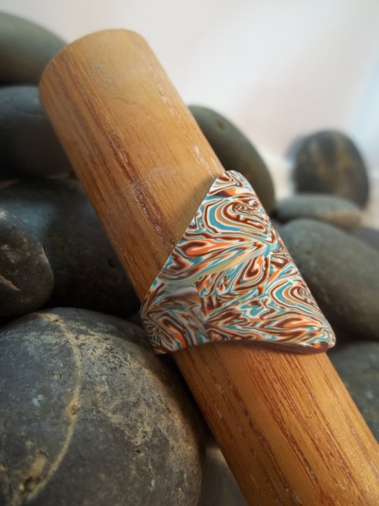 Handmade OOAK Polymer Clay Ring Size 85 by SunshineTextiles, $10.00