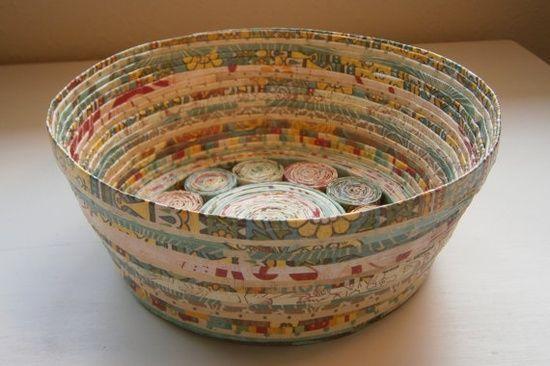 Handmade Paper Basket  Teal/Tan medium by BlueTangDesigns