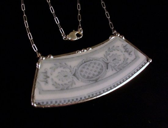 Broken China Jewelry Plate Necklace Ornate by dishfunctionldesigns, $40.00