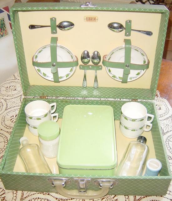 Vintage Antique Sirram Tea Picnic Basket Set