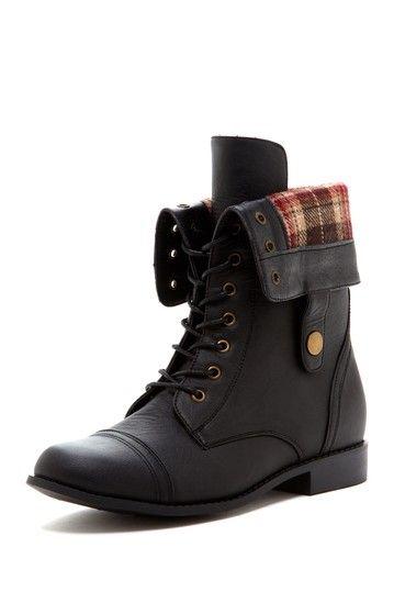 Plaid fold down boots