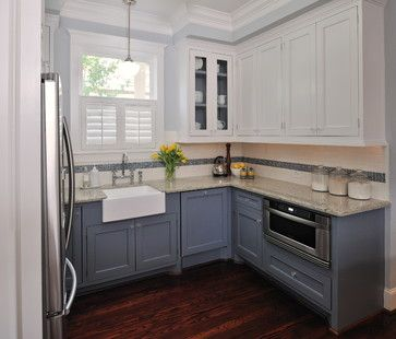 white cabinets top blue cabinets bottom